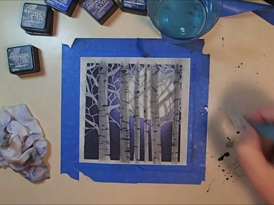 Twelve Days of Christmas Cards - Day 11: Distress Ink Forest