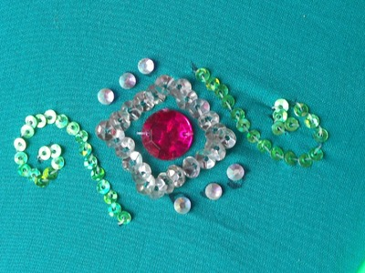 Bead Embroidery  | how to sew a simple design using outline stitch | method-2