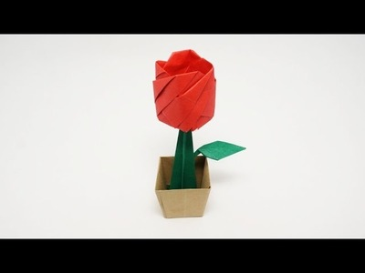ORIGAMI ROSE IN A POT (Jo Nakashima)