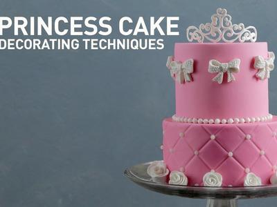 Princess Cake Ideas: Tiara & Rose Sugar Designs | Fondant Cake Decorating Tutorial