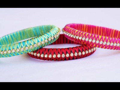 Silk thread criss cross bangle making video