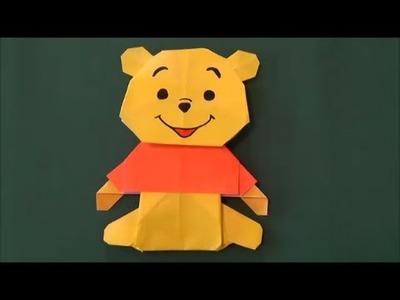 """「くまのプーさん」折り紙・上半身 """"Winnie-the-Pooh"""" origami.Upper half of the body"""