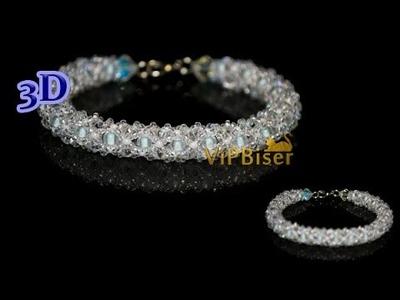 Winter Beaded Bracelet. 3D Beading Tutorial