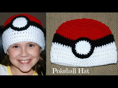 Crochet Pokeball Double Crochet Hat (All Sizes)