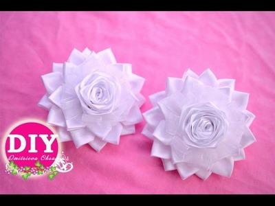 DIY Kanzashi Flower scrunchy.Elegant bows.The Flower from the satin ribbon