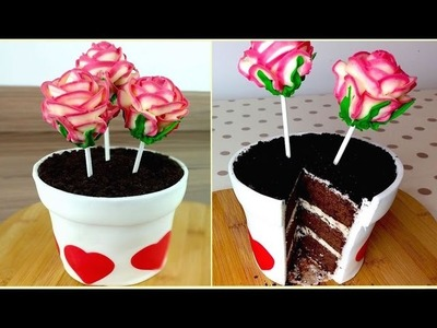Flowerpot Cake With Rose Cake Pops | How to Mother's Day DIY Treats | CarlyToffle