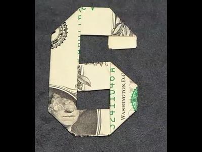 Fold Origami Dollar Bill Number 6
