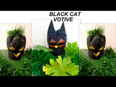 HALLOWEEN BLACK CAT LUMINARY, recycled water bottle