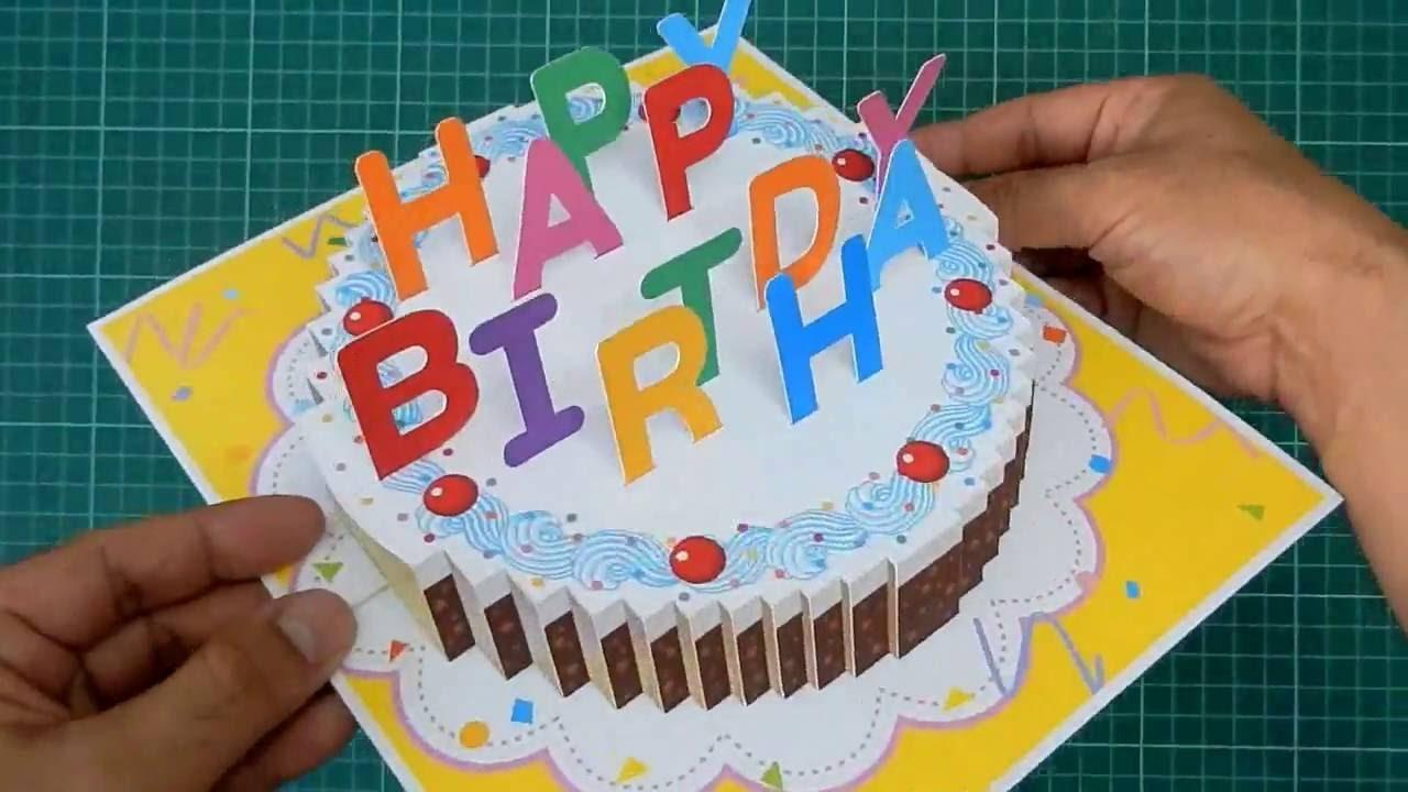 Happy Birthday Cake Pop Up Card Tutorial