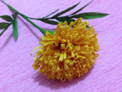 How to Make Marigold Crepe Paper flowers - Flower Making of Crepe Paper - Paper Flower Tutorial