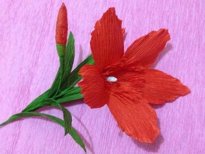 How to Make Nerium Oleander Paper flowers - Flower Making of Crepe Paper - Paper Flower Tutorial