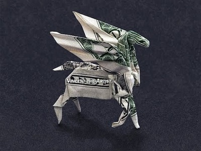 Money Origami Pegasus - Dollar Bill Art - 360° view