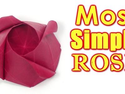 Origami Rose easy - MOST SIMPLE Rose | Cómo hacer una rosa de origami - Yakomoga Origami tutorial