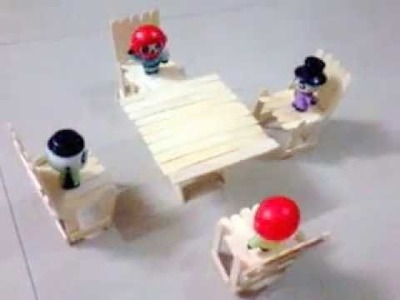 Popsicle sticks. ice cream sticks dining table with chairs  for Pandas.toys
