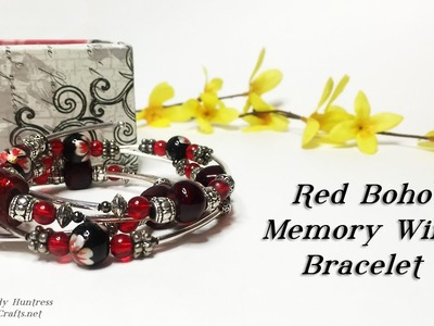 Red Boho Memory Wire Bracelet Tutorial