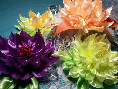 Ribbon flowers:dahlia.Flores de cintas:dalia.Цветы из лент:георгин.МК