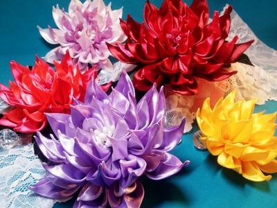 Ribbon flowers:new dahlia.Flores de cintas:dalias nuevas.Цветы из лент:новый георгин.МК