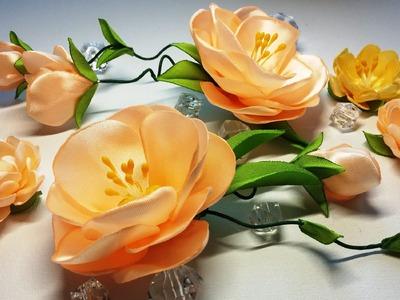 Ribbon flowers:quick and easy.Flores de las cintas:rápida y fácil.Цветы из лент:быстро и легко.МК