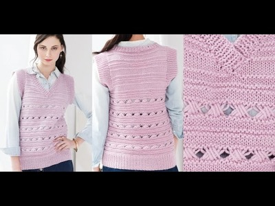 Tutorial for Cross 6 Stitch Pattern, Vest Vogue Knitting Spring.Summer 2016 #16