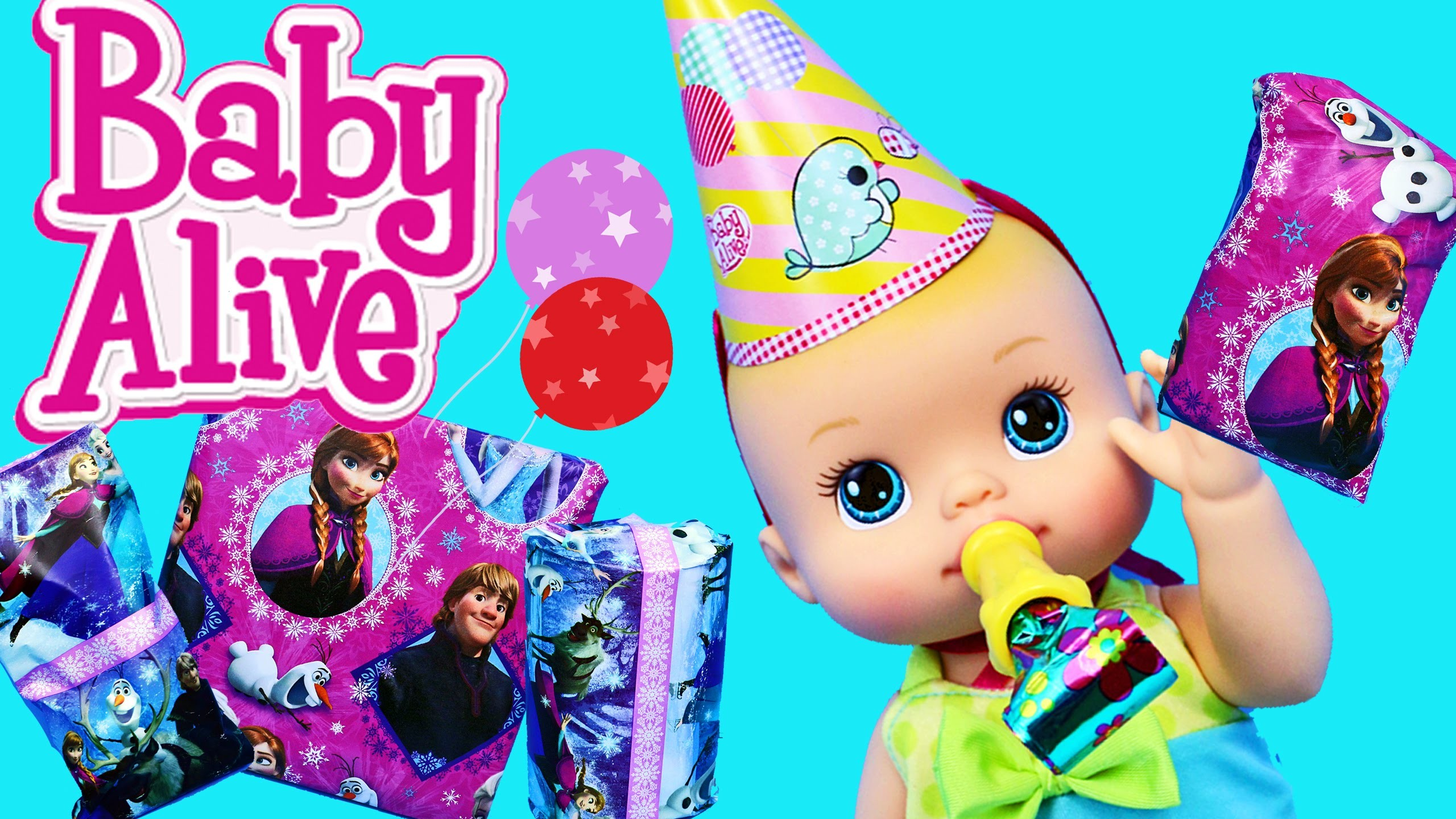 Baby Alive BIRTHDAY PARTY Disney Frozen Gifts Swim Dress Up Clothes, Blind Bags & Surprise Eggs Toys