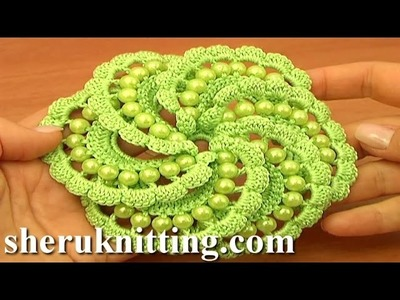 Crochet Spiral Flower With Beads Tutorial 103