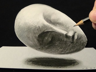 Drawing Sleeping Muse, Brancusi's sculpture, 3D Trick Art