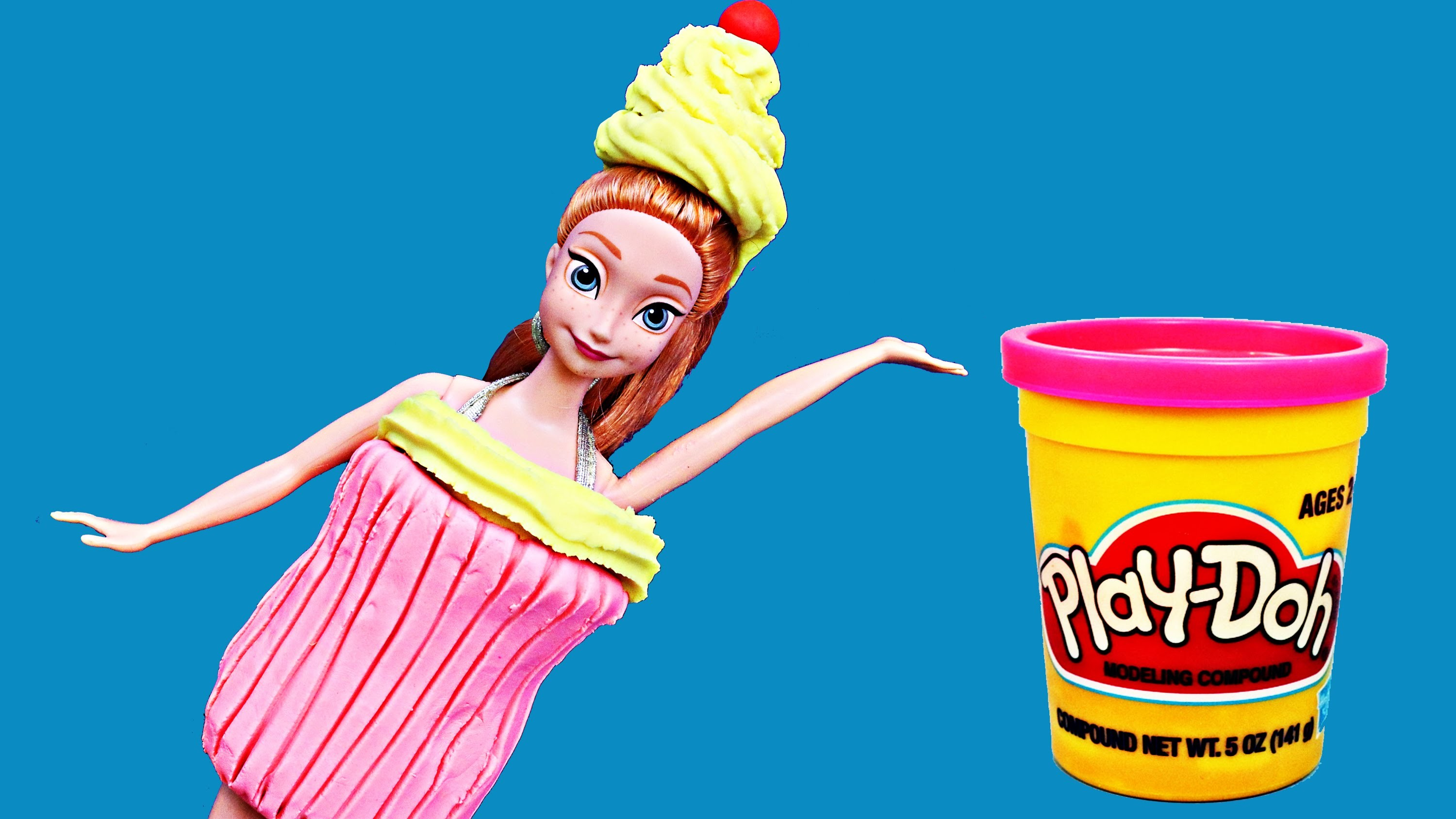 Frozen Anna in Play Doh Halloween Costume Cupcake Tutorial and Parody by DisneyCarToys