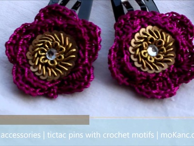 Handmade | crochet accessories | tic tac hairpins with motifs | moKanc