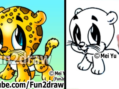 How to Draw Cartoon Characters - How to Draw a Baby Jaguar - Cute Art - Fun2draw