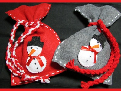 How to make Christmas Snowman Gift Bags - Free tutorial