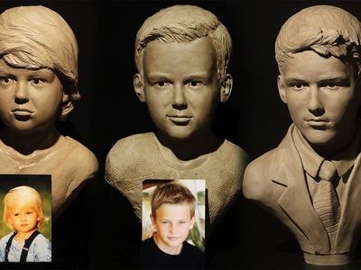 James Cook Sculpture Demo- aging self portrait sculpture in clay