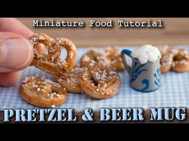 Miniature Pretzel.Brezel and Beer Mug. Polymer Clay Tutorial