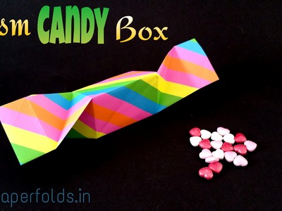 "Origami tutorial to make a ""Prism (Triangle) Candy Gift Box"" using single A4 Paper"