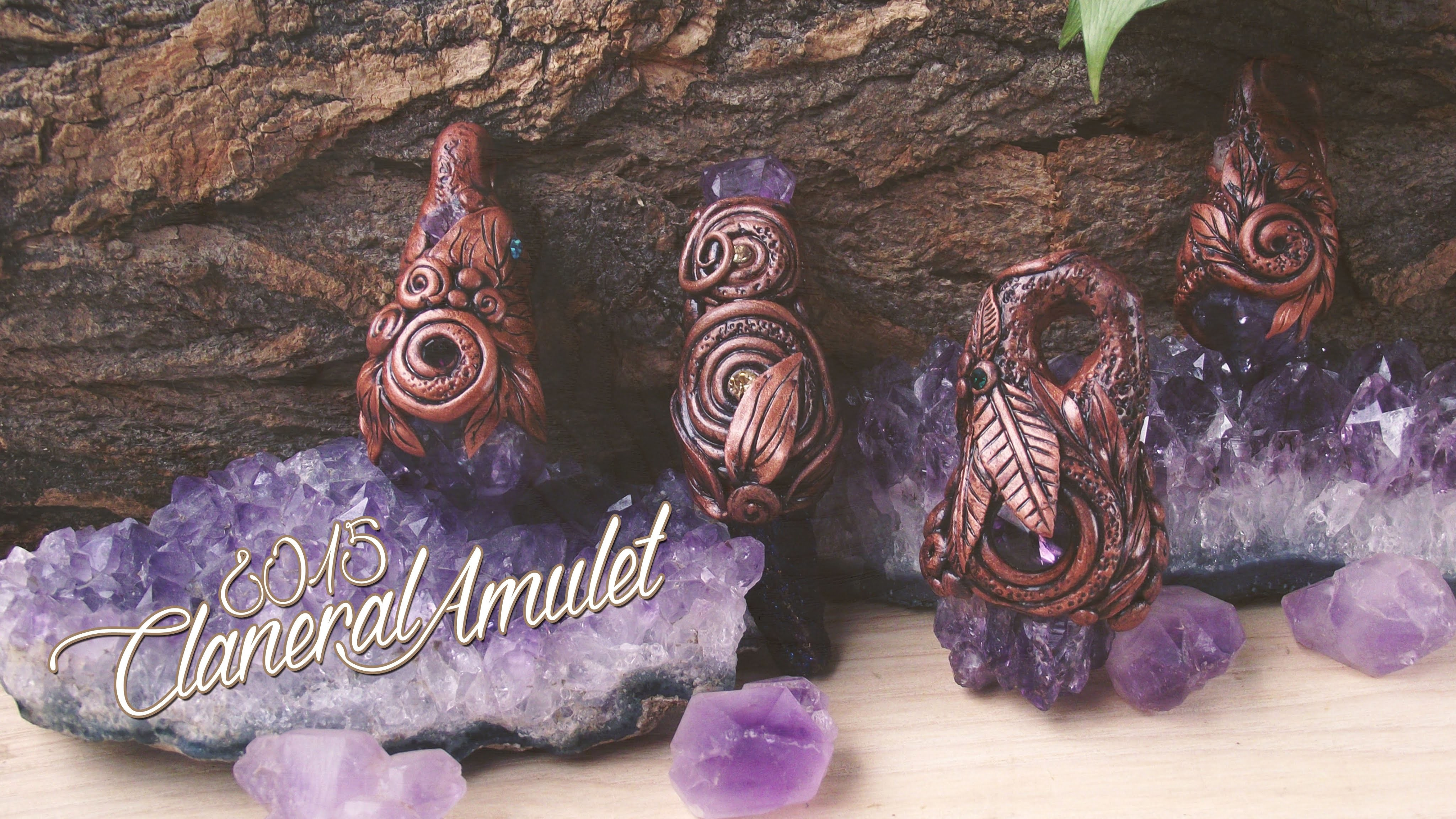 Polymer clay and mineral pendants 2015 by ClaneralAmulet
