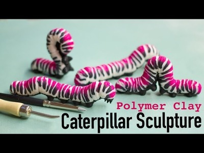 Polymer Clay Caterpillar Sculpture with Fuchsia Stripes Tutorial