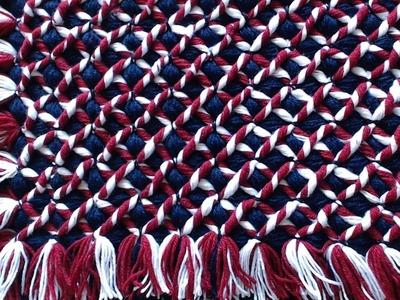 Pom pom blanket loom  -  Diagonal twists