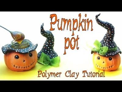 Pumpkin Pot- Polymer clay- tutorial- Halloween