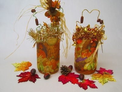 Recycled Jars Thanksgiving Candle Holders ~ Featuring Miriam Joy