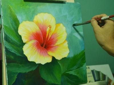 Acrylic Painting Lesson - Gumamela Flower by JMLisondra
