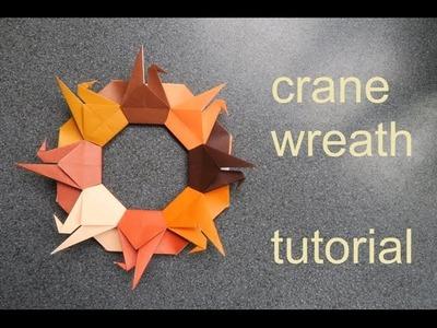 Crane wreath - modular origami - tutorial - dutchpapergirl