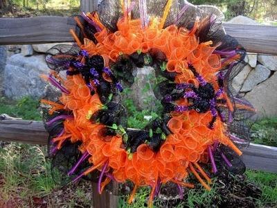 Curly Mesh Halloween Wreath Under $10 00 ~ Featuring Miriam Joy
