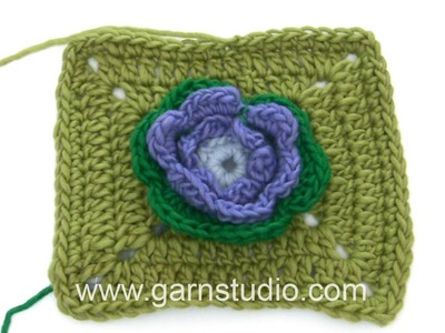 DROPS Crocheting Tutorial: How to work the square to the water lily - Mystery Blanket