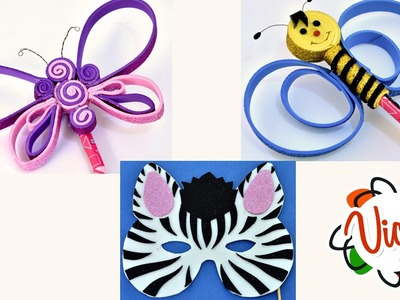 Easy DIY Crafts for Kids - How to make Zebra Mask - Butterfly and Bee Pencils by Foam Sheets