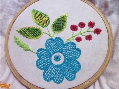 Hand Embroidery Stitches | Checker net stitch | Stitch and Flower-72