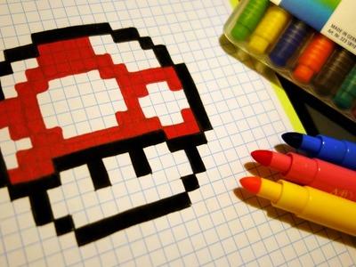 Handmade Pixel Art - How To Draw a Mushroom #pixelart