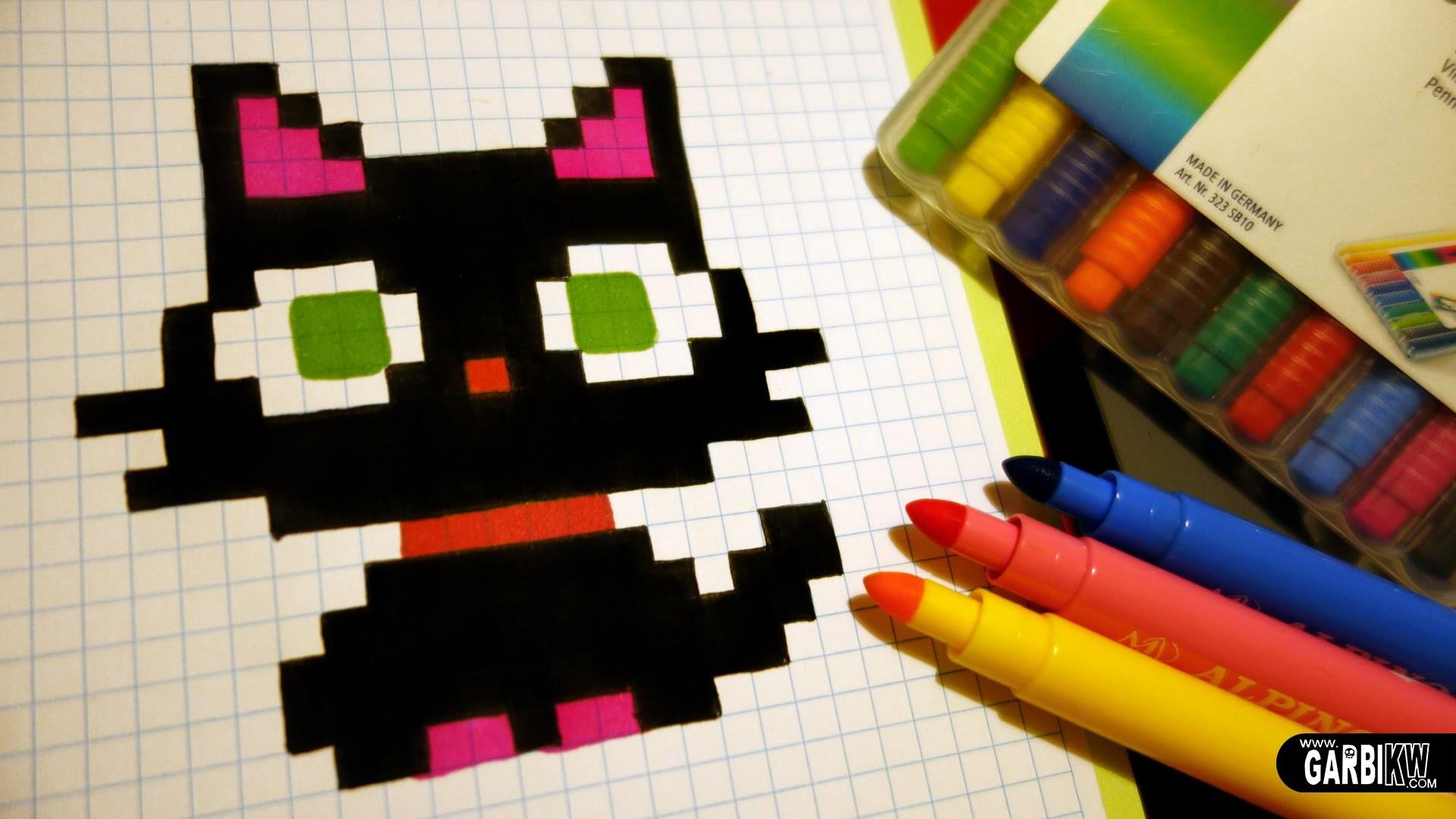 Handmade Pixel Art - How To Draw a Kawaii Black Kitty #pixelart