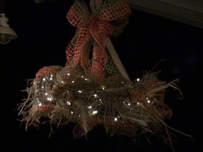 Hay Wreath Chandelier Tutorial by Trendy Tree
