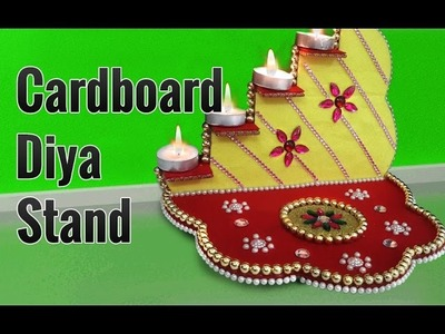 Learn How to Make Beautiful Diya Stand from Cardboard on this Diwali | Diya Decoration Ideas