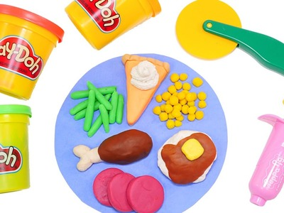 PLAY DOH MEAL MAKING THANKSGIVING - Using Playdough Tools by DCTC