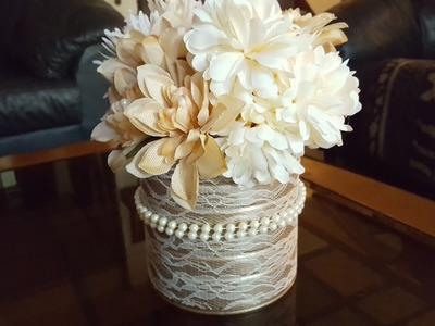 Upcycled Coffee Can - Pearls & Lace